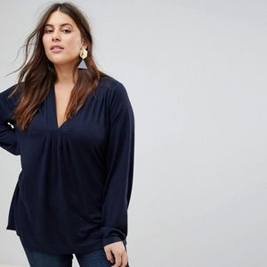 Junarose (from ASOS) Pleated Navy Blue Knit Top